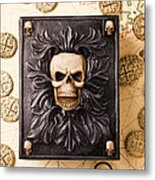 Skull Box With Skeleton Key Metal Print