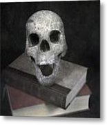 Skull On Books Metal Print by Joana Kruse