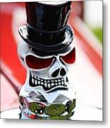 Skull With Top Hat Hood Ornament Metal Print