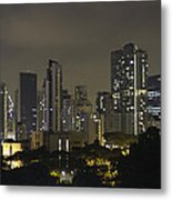Skyline Of Singapore At Night As Seen From An Apartment Complex Metal Print