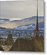 Skyline Of Zurich From The University Metal Print