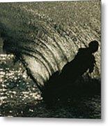 Slalom Waterskier Silhouette Metal Print