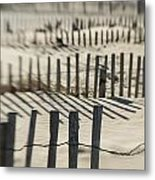 Slats Of Wooden Fence Throwing Shadows Metal Print