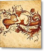 Sleeping Angel Original Coffee Painting Metal Print