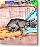 Sleeping Rottweiler Dog Metal Print by Jera Sky