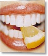 Slice Of Lemon Between Teeth Metal Print