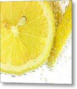 Sliced Lemon In Fizzy Water Metal Print