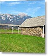 Slovenian Hayrack And Woodpile Metal Print