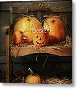 Small And Big Pumpkins On An Old Bench  Metal Print