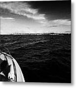 Small Boat Approaching Bangor From Belfast Lough County Down Northern Ireland Metal Print by Joe Fox
