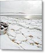 Small Boat Sits On Ice Chuncks In Wellfleet On Cape Cod In Winte Metal Print