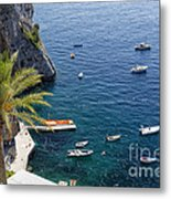 Small Boats And A Palm Tree Metal Print