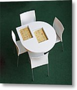 Small Cafe Table With Cookbooks Metal Print