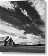 Small Country Church In Grass Field In Metal Print
