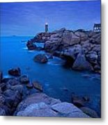 Small Lighthouse And House At Dusk Metal Print