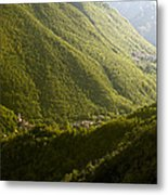 Small Towns In Mountain Metal Print