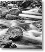 Smokey Mountain Stream Of Flowing Water Over Rocks Metal Print
