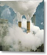 Smoking Chimneys Of A Paper Mill Polluting The Air Metal Print
