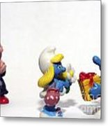 Smurf Figurines Metal Print