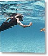 Snorkeler Photographing Green Turtle Metal Print