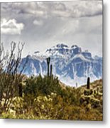 Snow Atop The Superstitions Metal Print