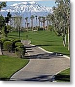Snow Capped Mountains In The Desert Metal Print
