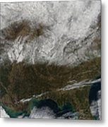 Snow Cover Stretching From Northeastern Metal Print by Stocktrek Images