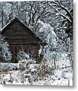 Snow Covered Barn Metal Print