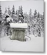 Snow Covered Cabin By Forest Metal Print