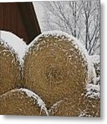 Snow Dusts Rolls Of Hay Metal Print