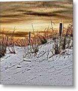 Snow Fence On Horizon Metal Print