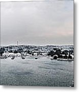 snow in port mahon - A very rare image of a mediterranean villa sided to sea covered of white Metal Print