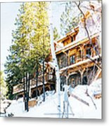 Snow Lodge Metal Print