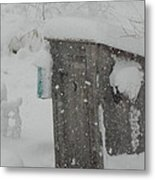 Snow Storm In The Country Metal Print