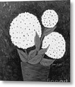 Snowball Plant B W Metal Print