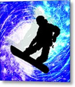 Snowboarder In Whiteout Metal Print