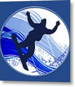 Snowboarding And Snowflakes Metal Print