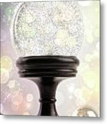 Snowglobe With Ornaments Against Colored Background Metal Print