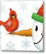 Snowman And The Cardinal Metal Print