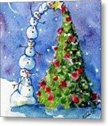 Snowman Christmas Tree Metal Print