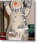 Snowman With Bell Metal Print