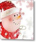 Snowman With Snowflakes  Metal Print