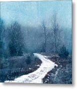 Snowy Foggy Rural Path Metal Print