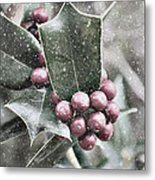 Snowy Holly Christmas Card Metal Print