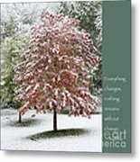 Snowy Maple With Buddha Quote Metal Print