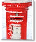 Snowy Pillar Box Metal Print