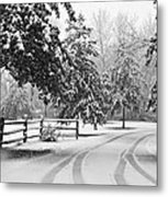 Snowy Tracks Metal Print