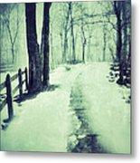 Snowy Wooded Path Metal Print