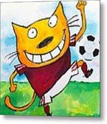 Soccer Cat 2 Metal Print