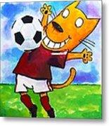 Soccer Cat 3 Metal Print